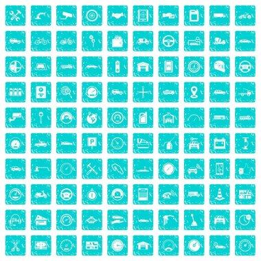 100 garage icons set grunge blue