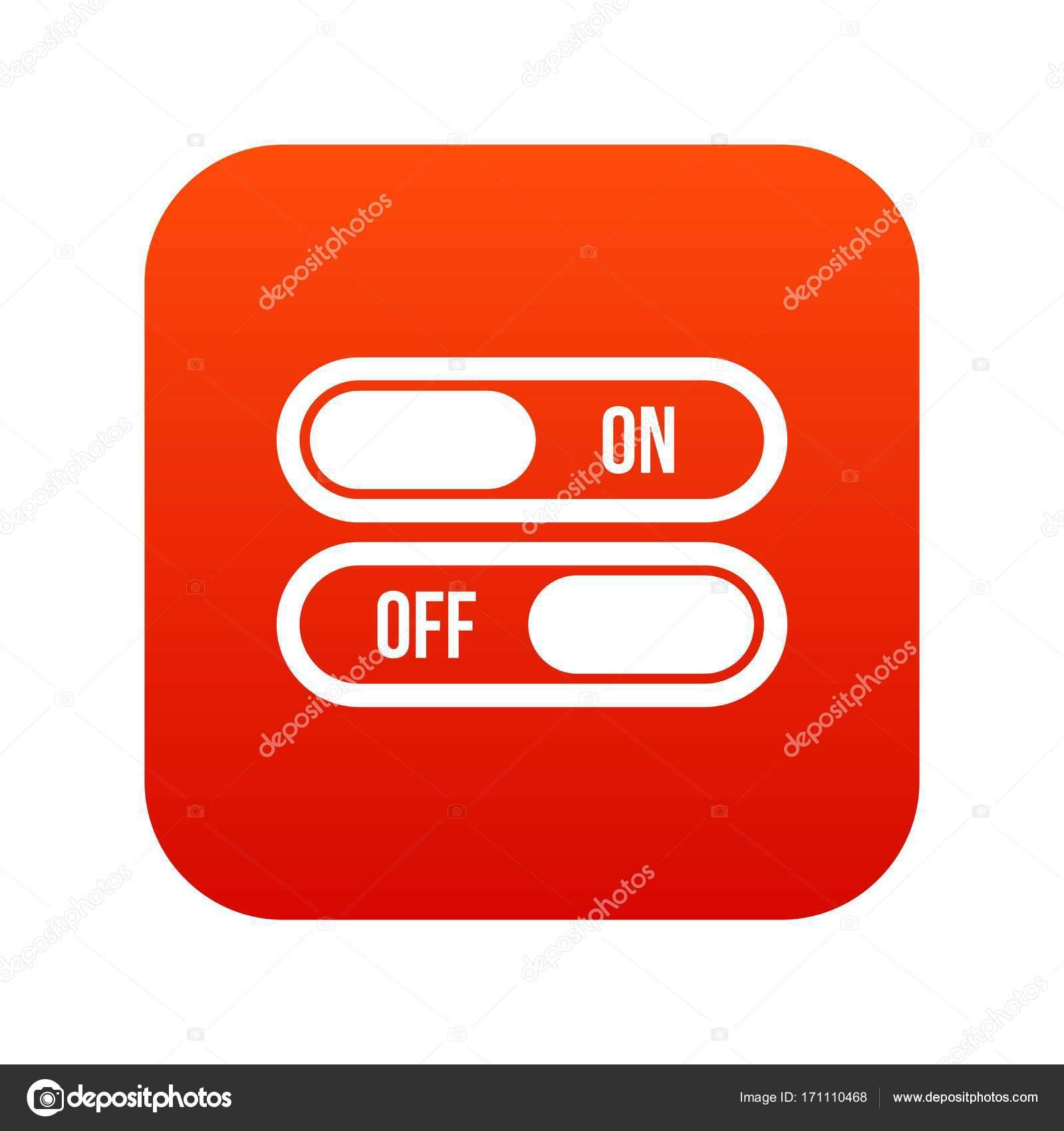 Taste ein- und Ausschalten Symbol digital rot — Stockvektor ...