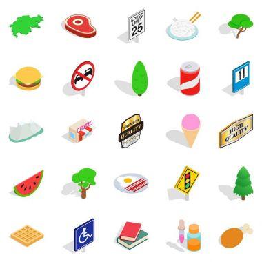 Helvetian icons set, isometric style