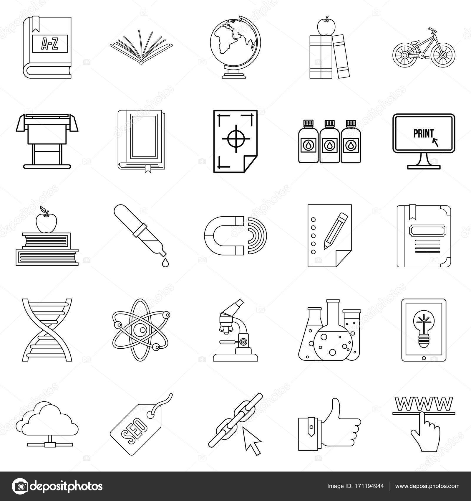 Instruction Icons Set Outline Style Stock Vector Ylivdesign