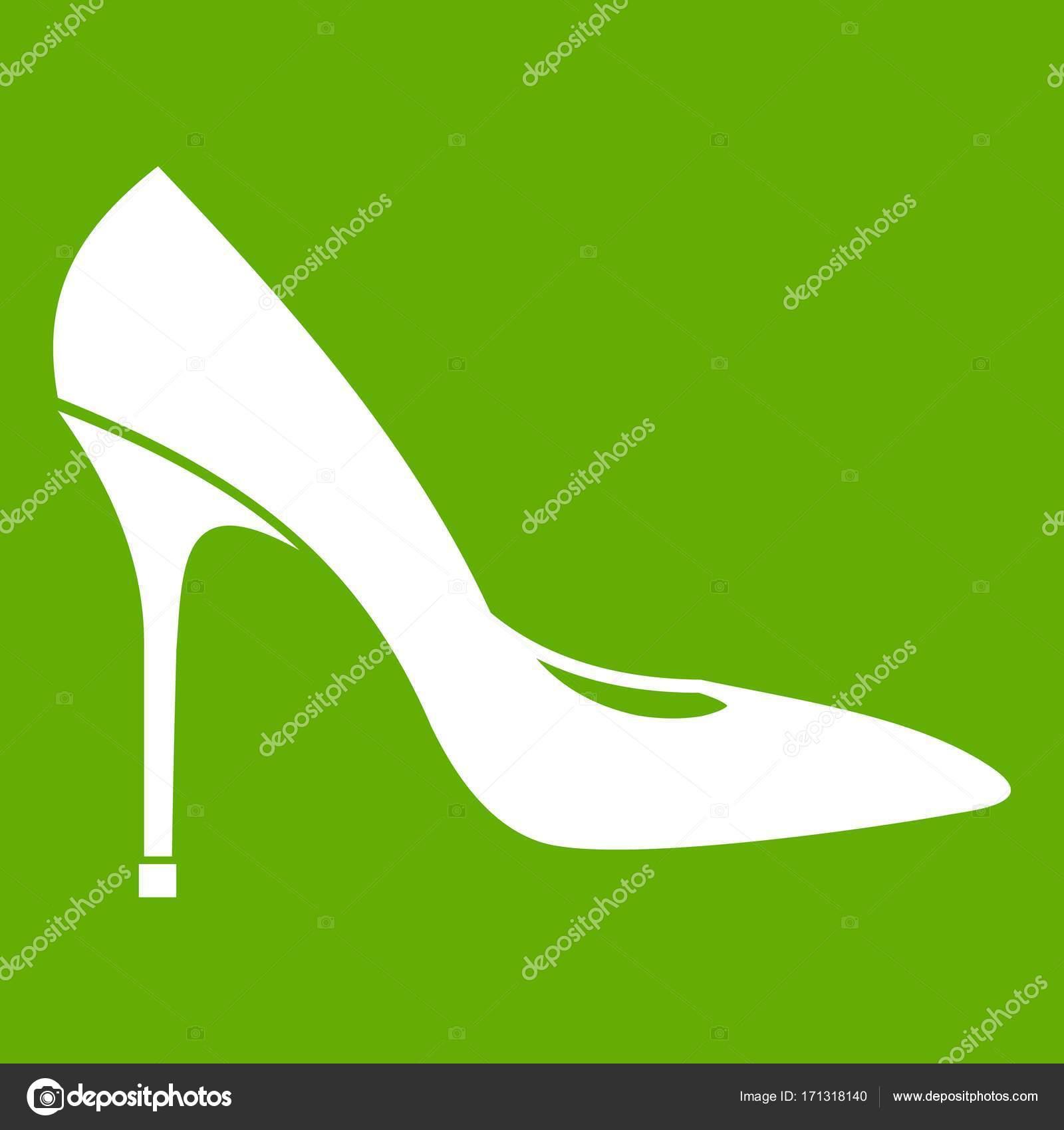 5cfc28c5a144 Zapato mujer con verde del icono de zapatos de tacón alto — Archivo ...