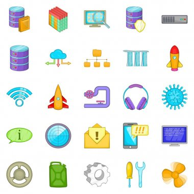 Modern technology icons set, cartoon style