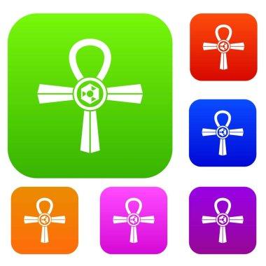 Egypt Ankh symbol set color collection