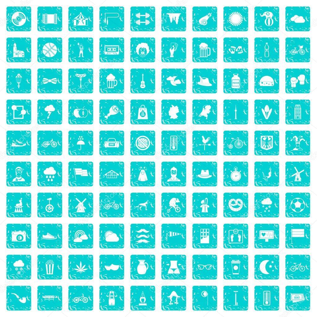 100 bicycle icons set grunge blue