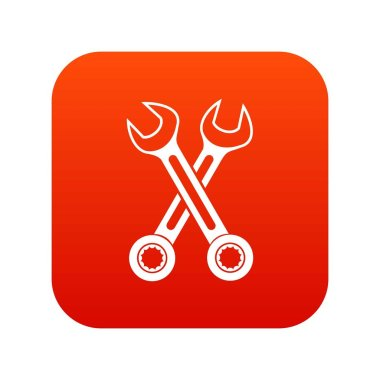 Crossed spanners icon digital red