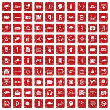 100 audio icons set grunge red