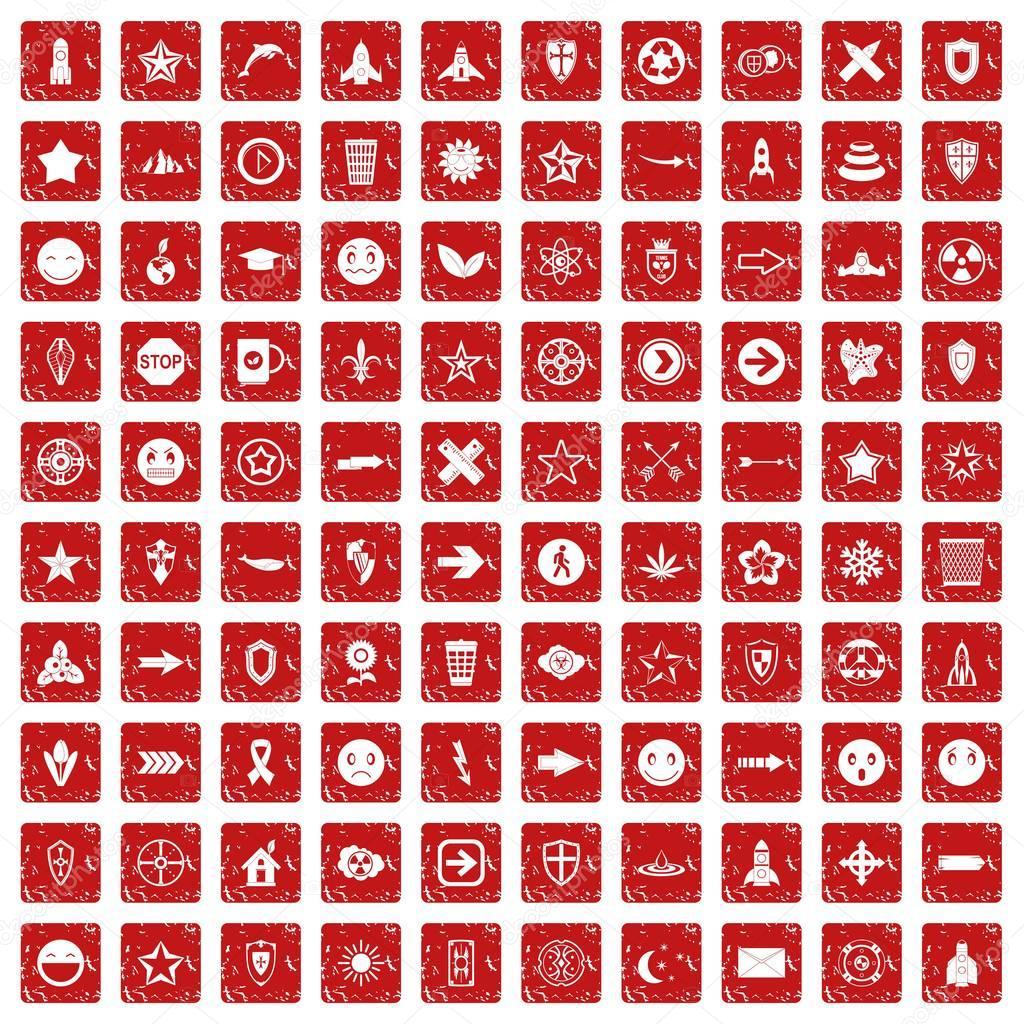 100 logotype icons set grunge red