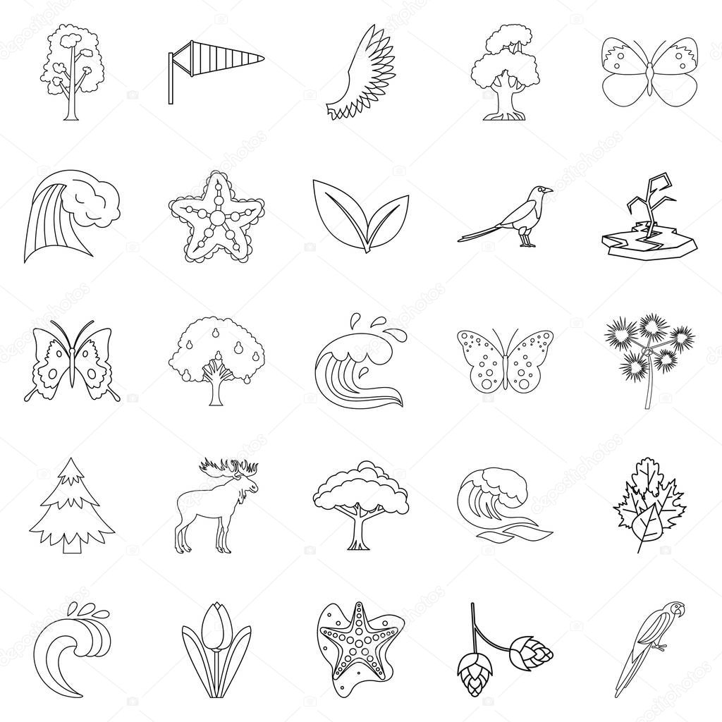 Temperate climate icons set, outline style