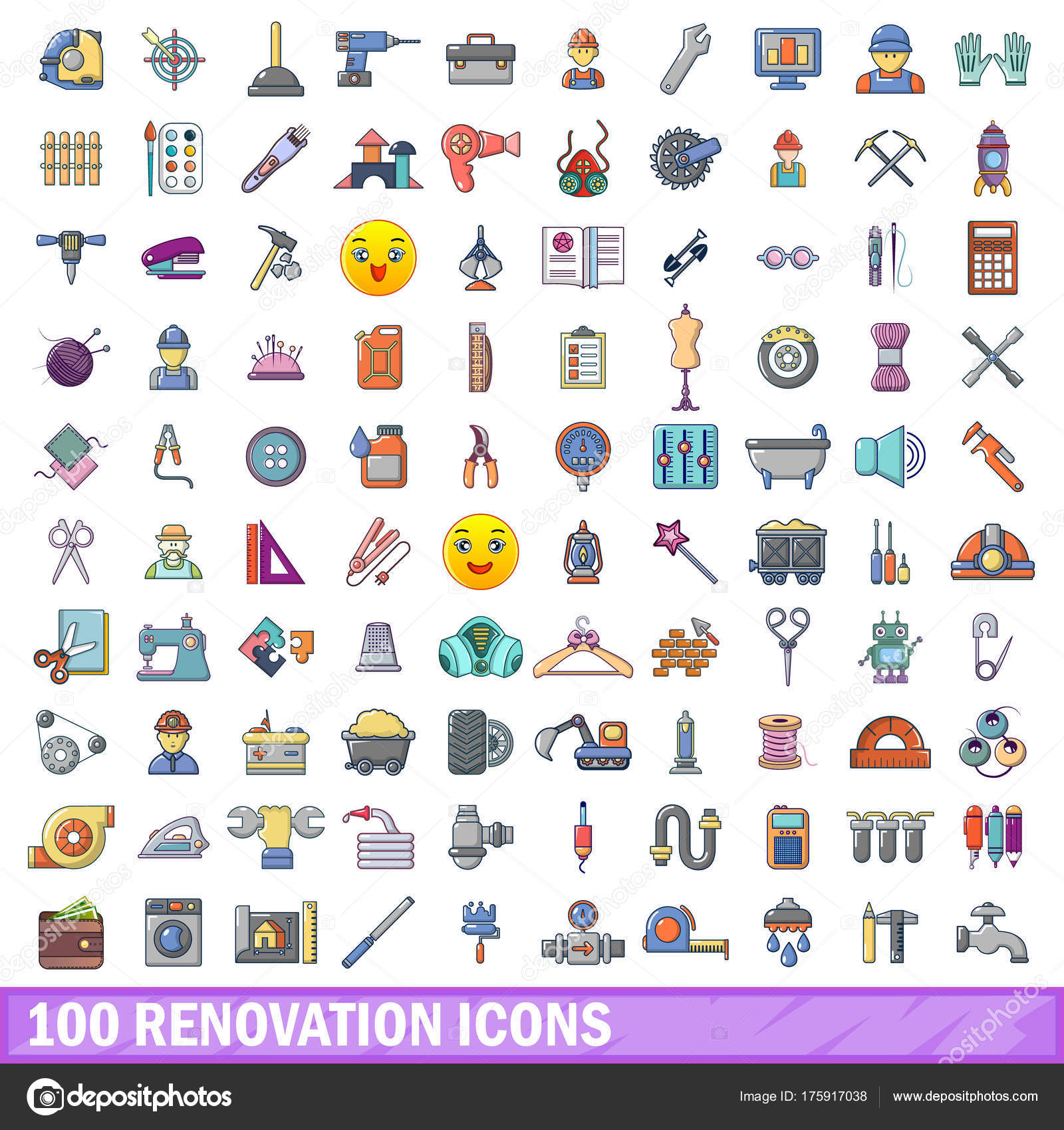 100 Renovierung Icons Set Cartoon Stil Stockvektor C Ylivdesign