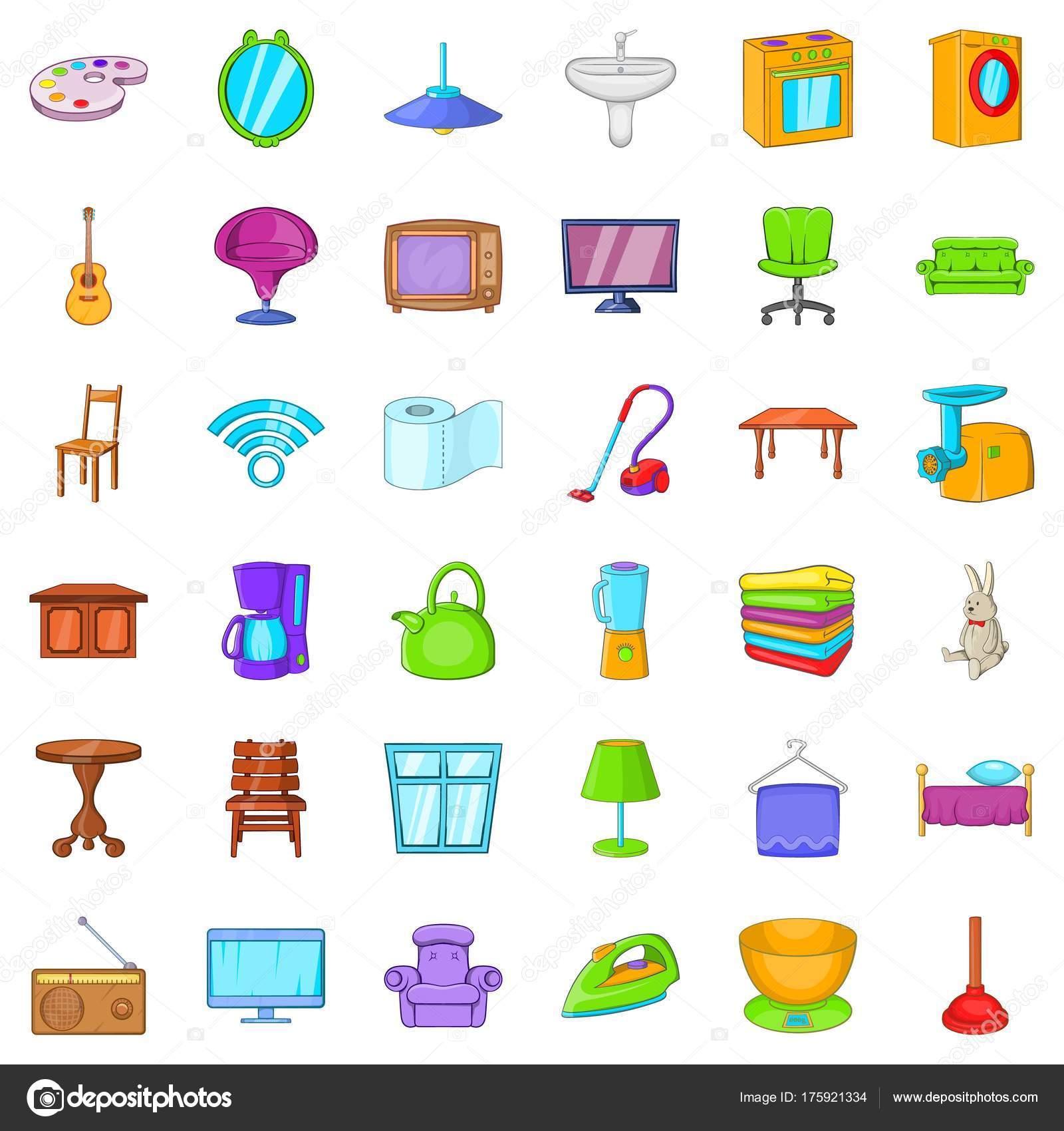 Dibujos muebles de casa casa muebles iconos conjunto for Muebles seres