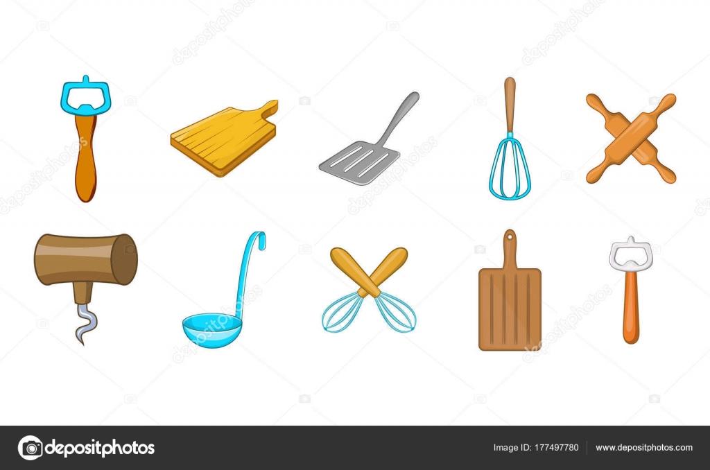 Insieme dell 39 icona di strumenti di cucina stile cartoon for Strumenti di cucina
