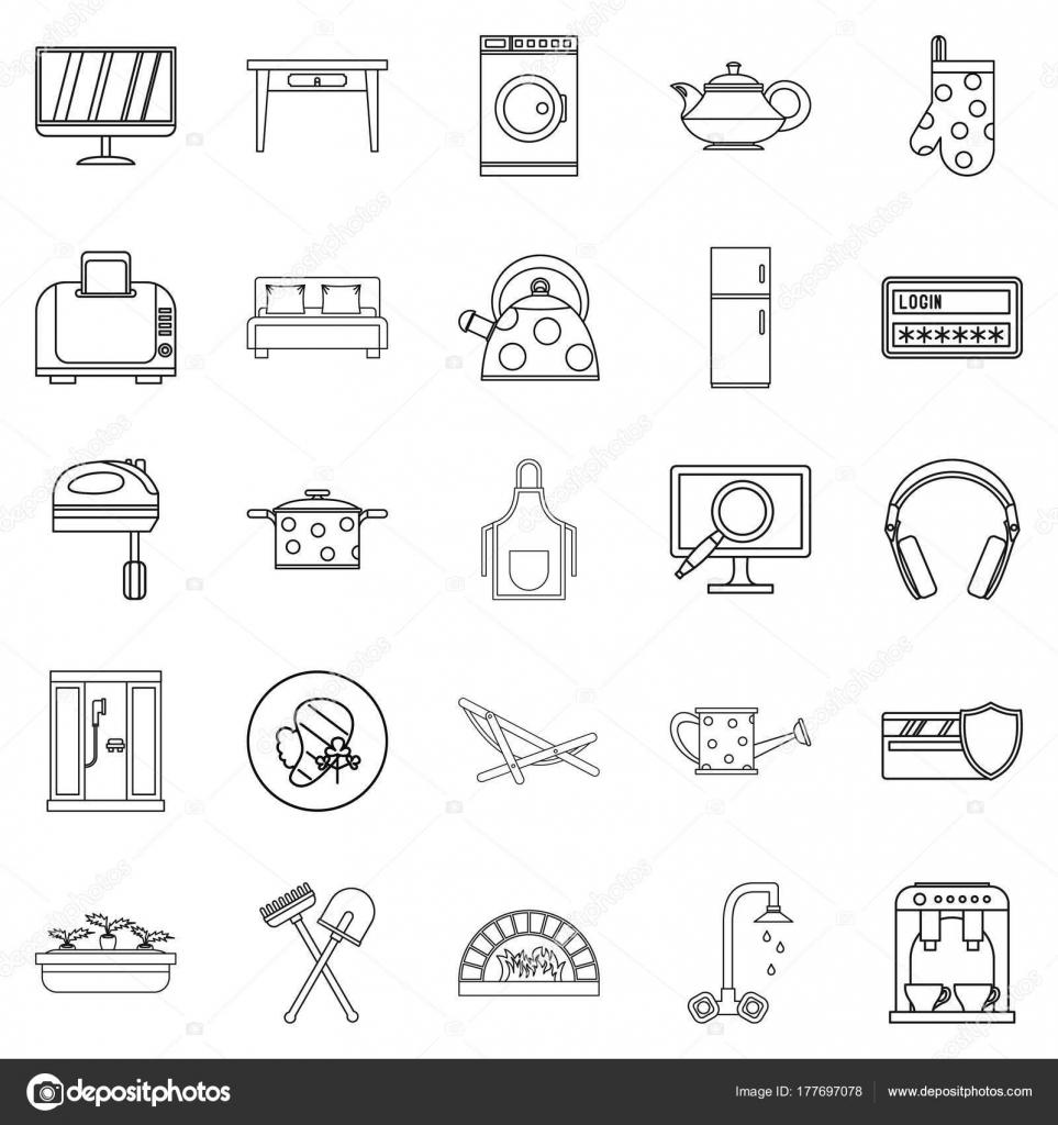 Kühles Haus Icons Set, Umriss-Stil — Stockvektor © ylivdesign #177697078