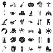 Kid game icons set, simple style