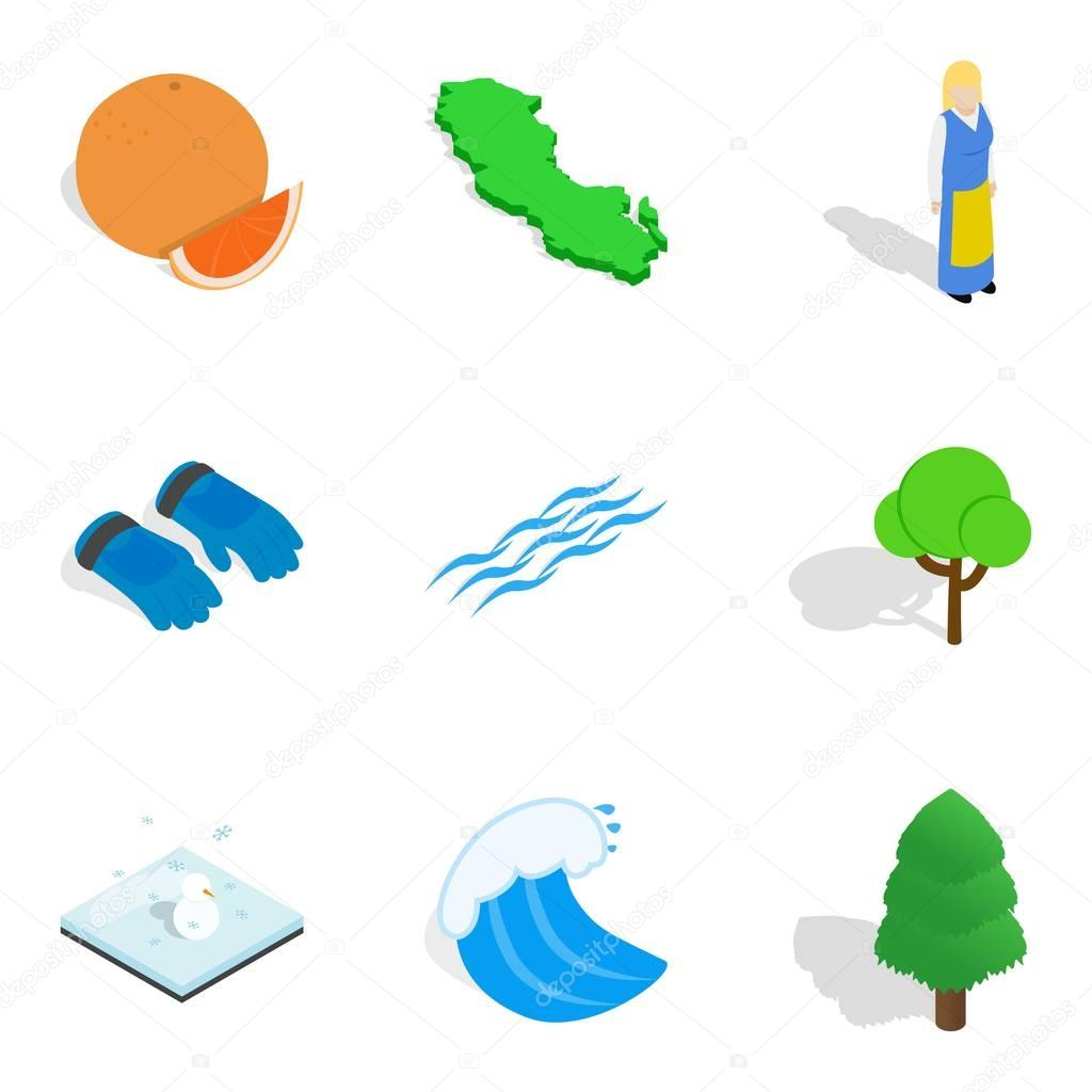 Outdoor leisure icons set, isometric style