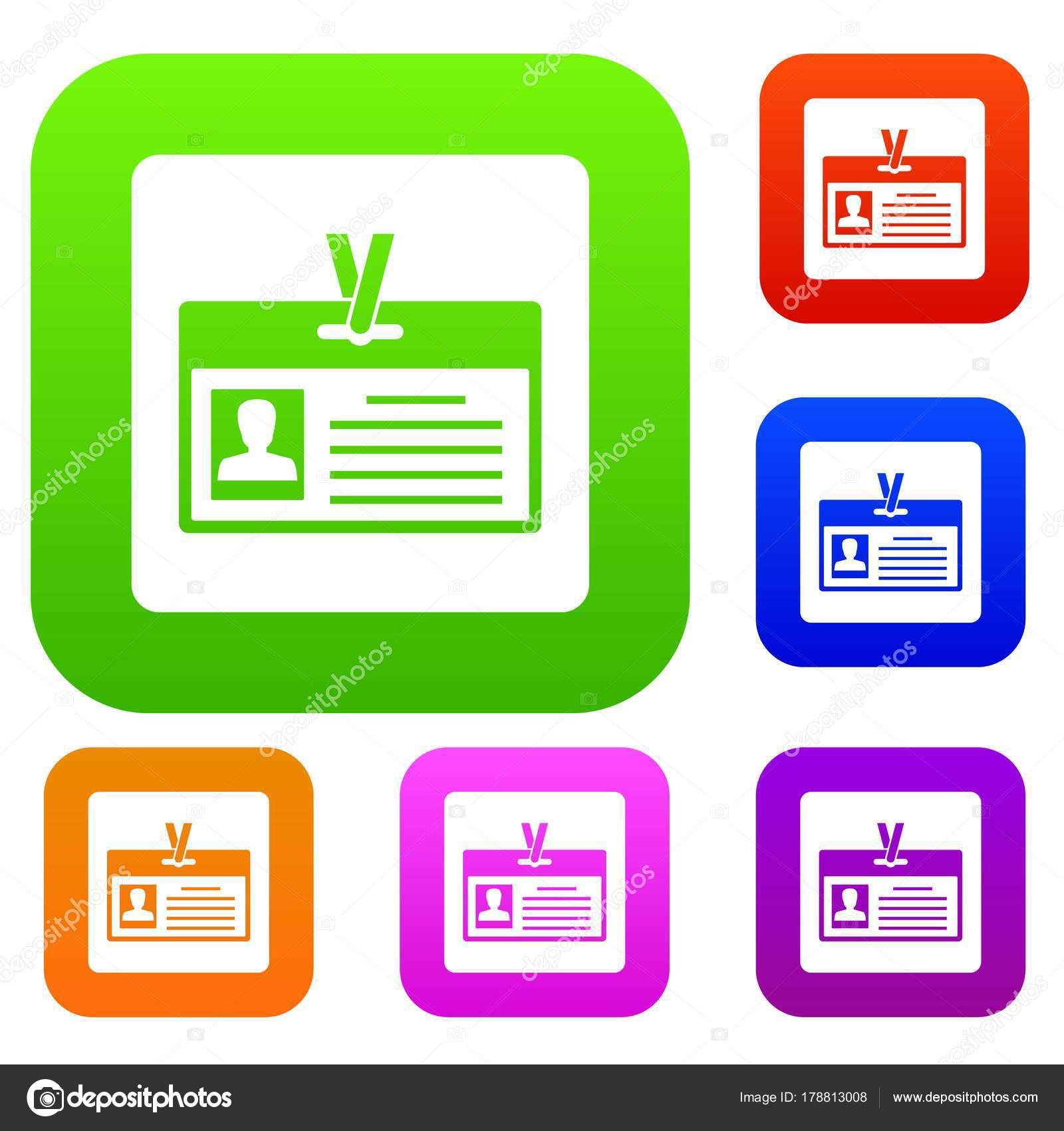 Tarjeta de identificación establece la colección de color — Vector ...