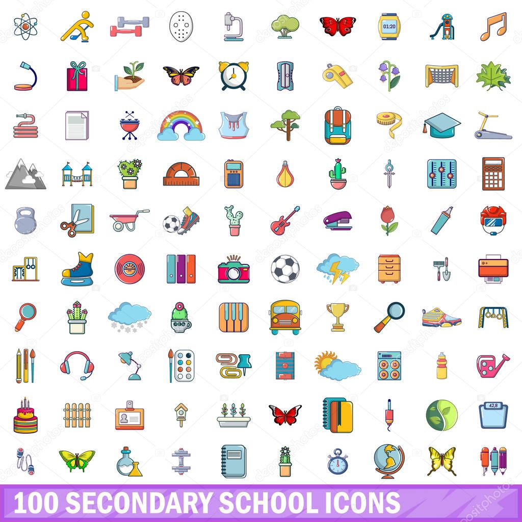 100 secondary school icons set, cartoon style