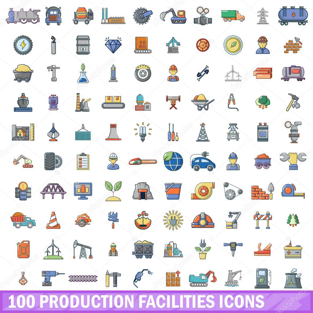 100 production facilities icons set, cartoon style