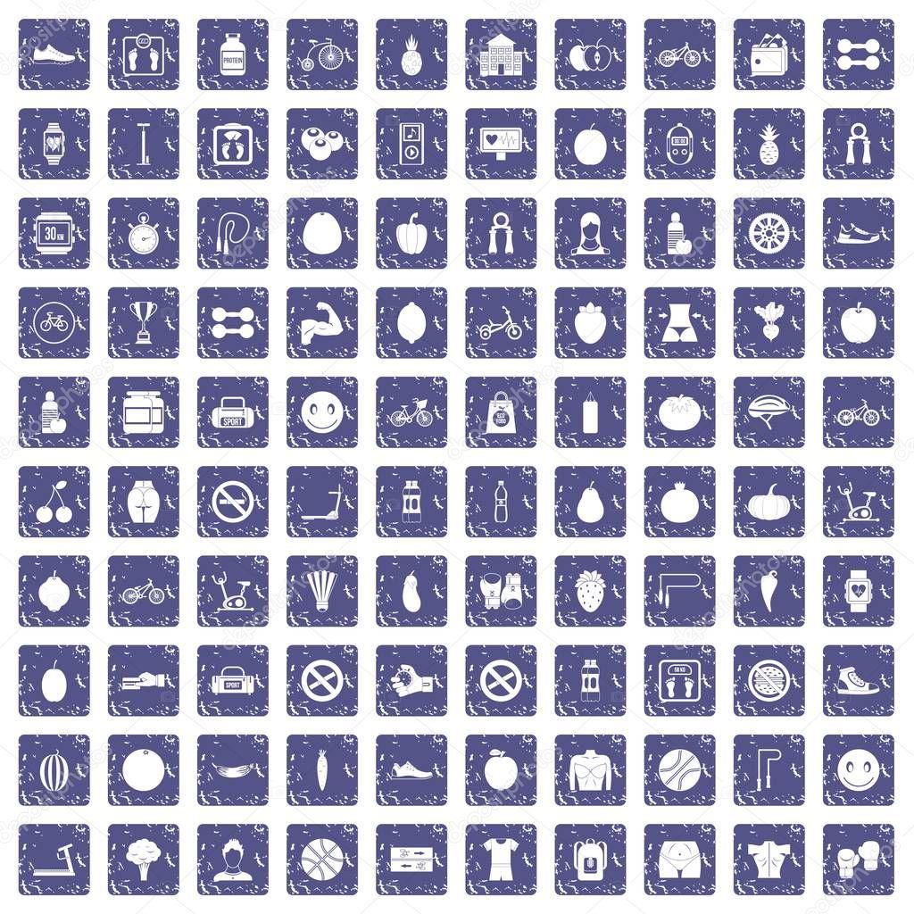 100 fitness icons set grunge sapphire