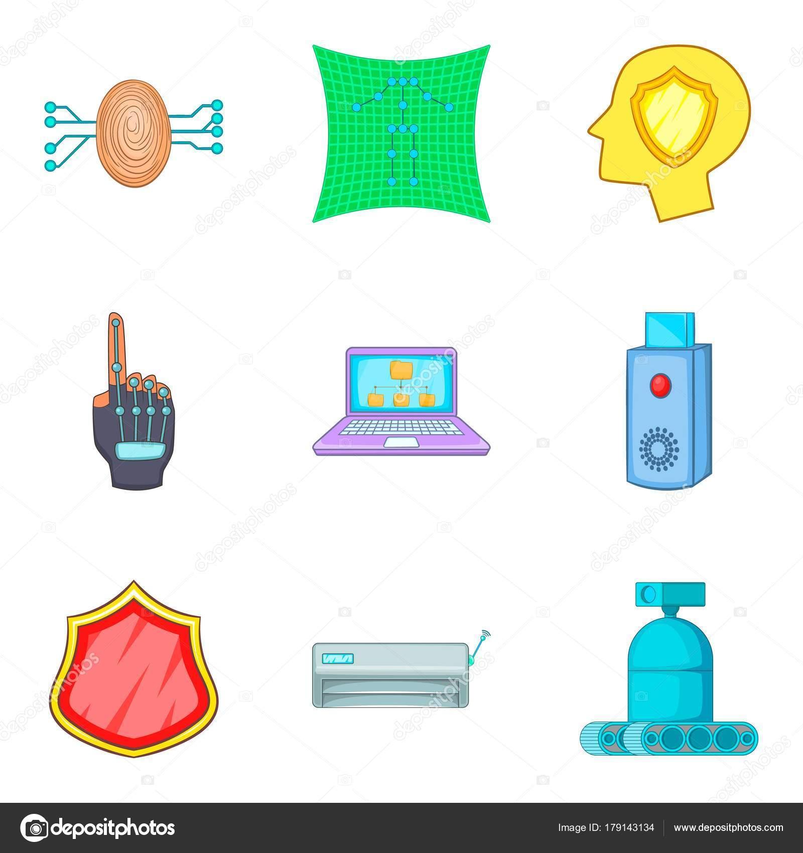 Animado Un Ciber Conjunto De Iconos Cyber Política Estilo De