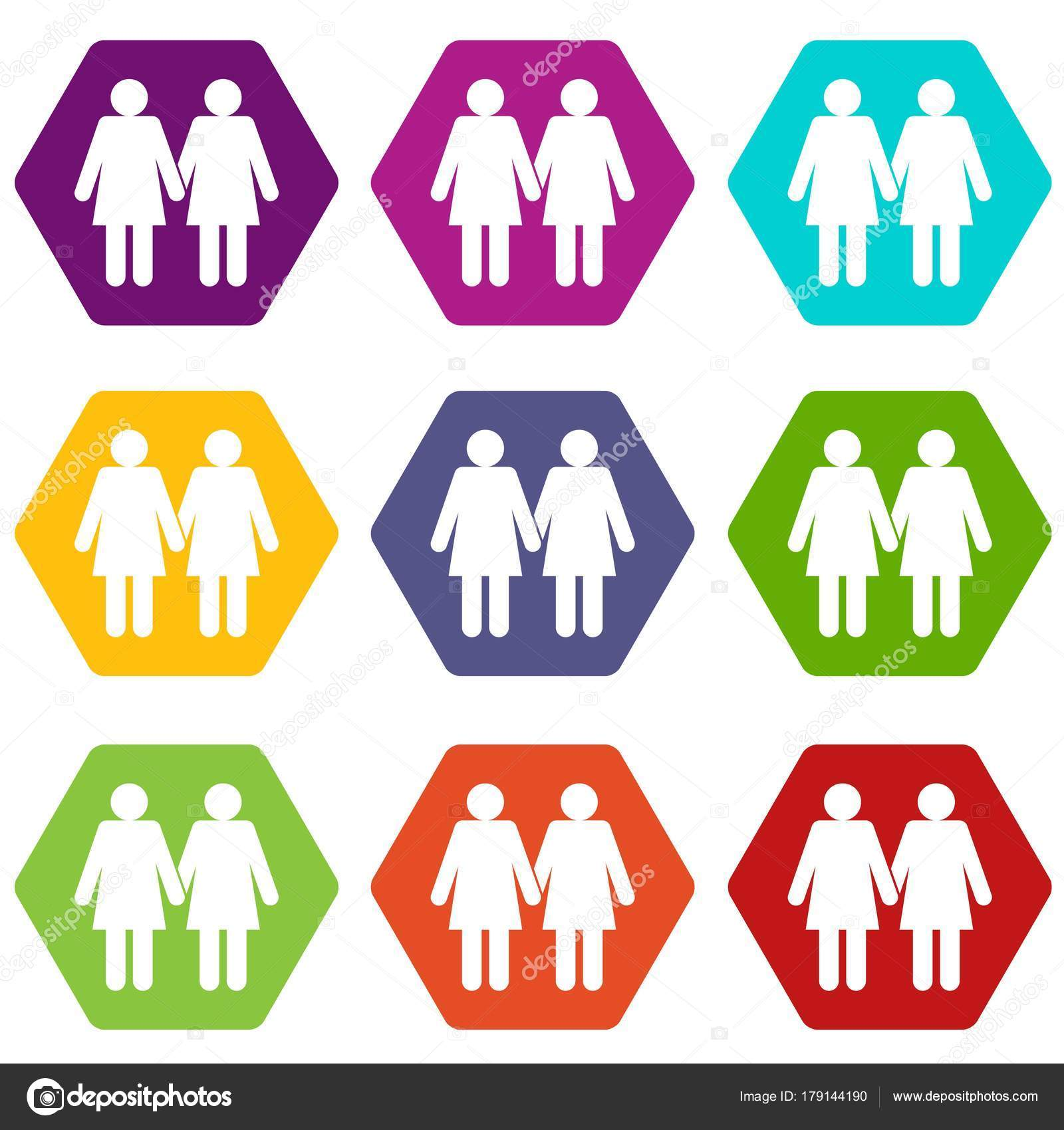 Zwei Mädchen Lesben Symbol Set Farbe Hexaeder — Stockvektor ...