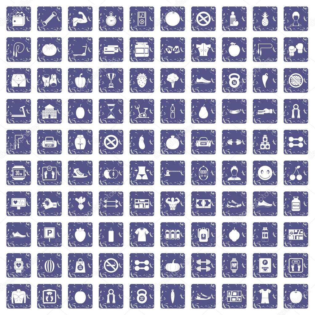 100 gym icons set grunge sapphire