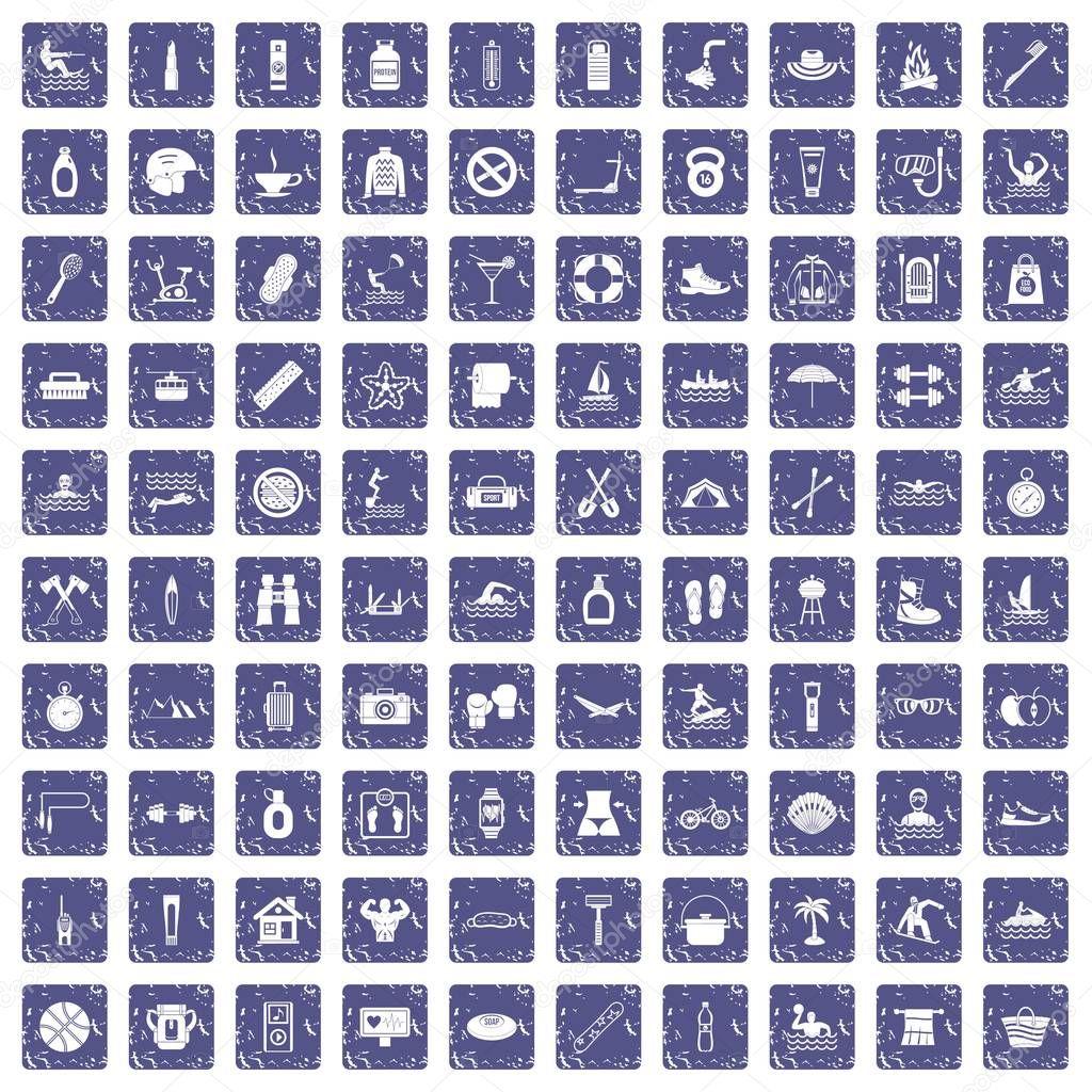 100 human health icons set grunge sapphire
