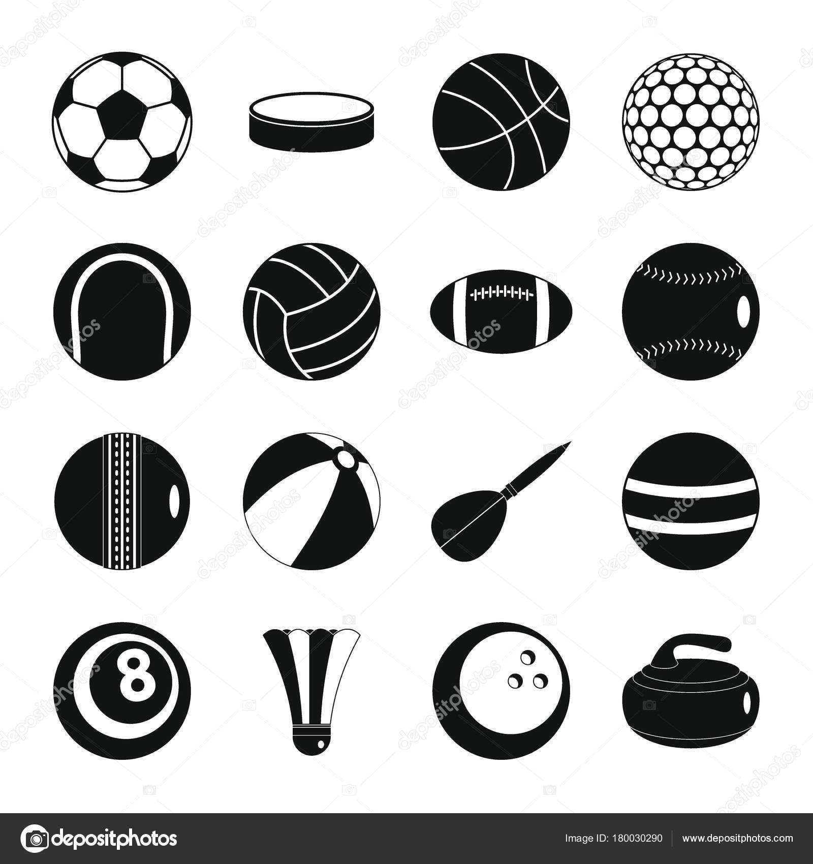 09523c52ed1 Conjunto de iconos de deporte bolas. Figura plana de 16 deporte pelotas  vector iconos para web — Vector de ylivdesign