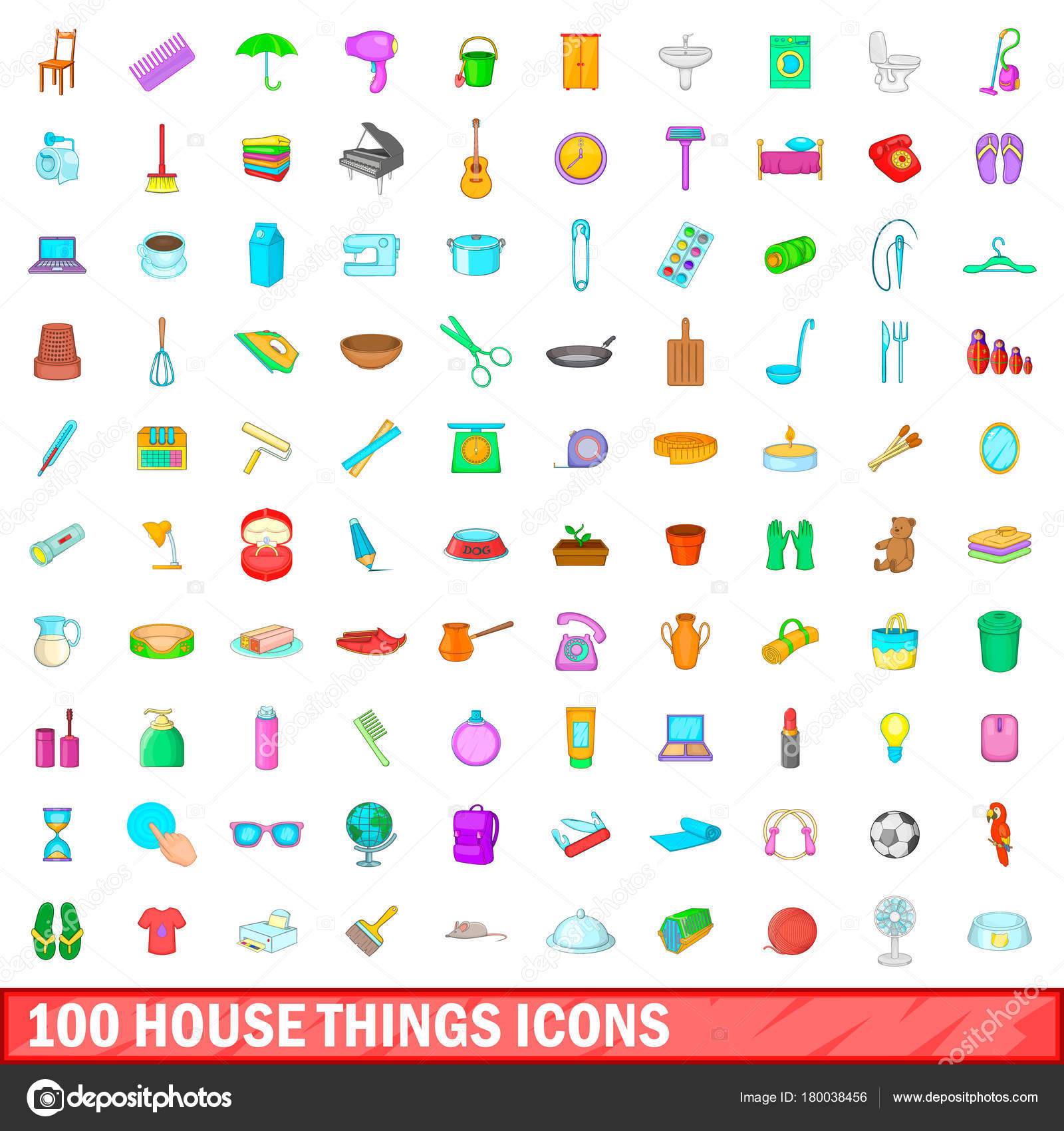 100 Haus Dinge Symbole gesetzt, cartoon-Stil — Stockvektor ...