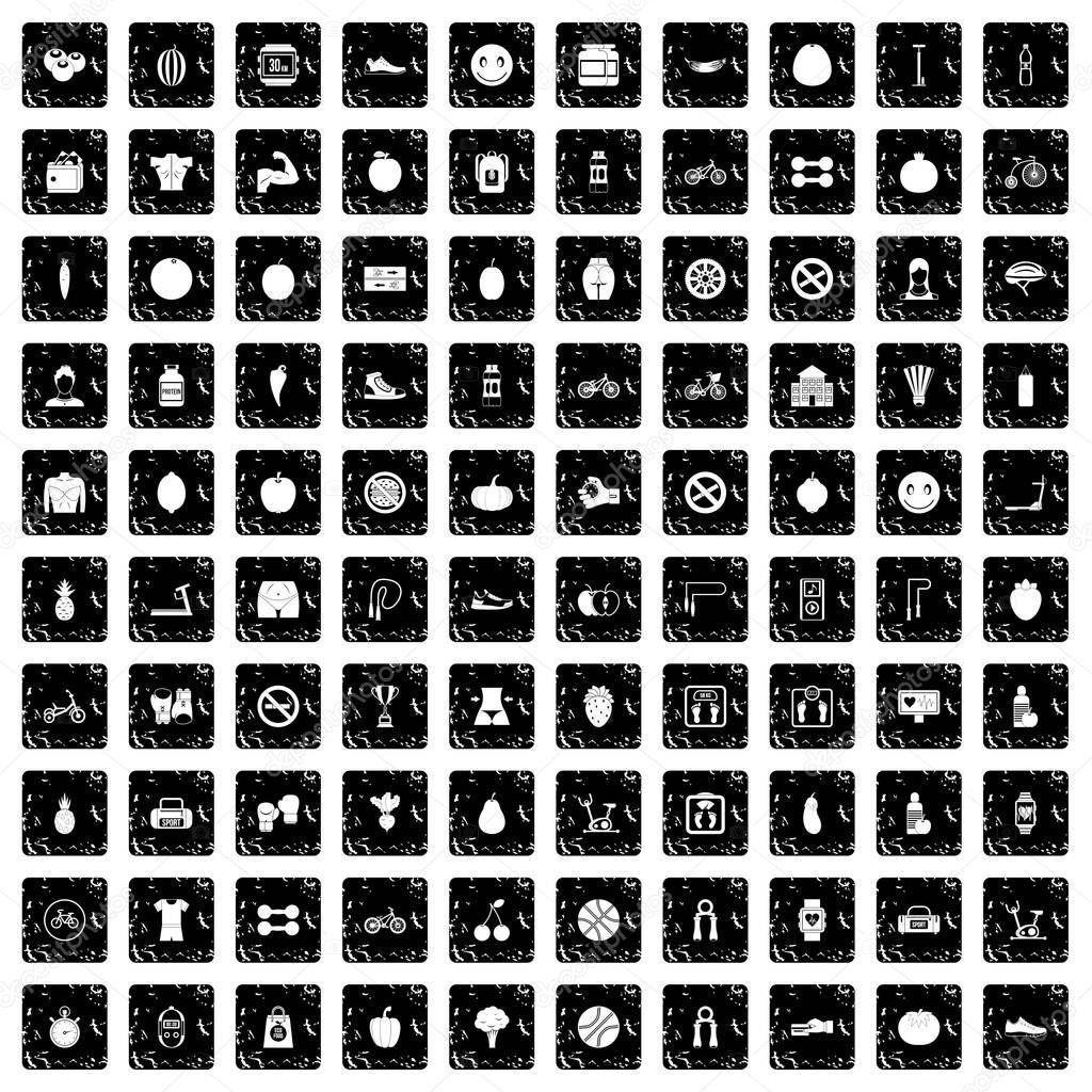 100 fitness icons set, grunge style
