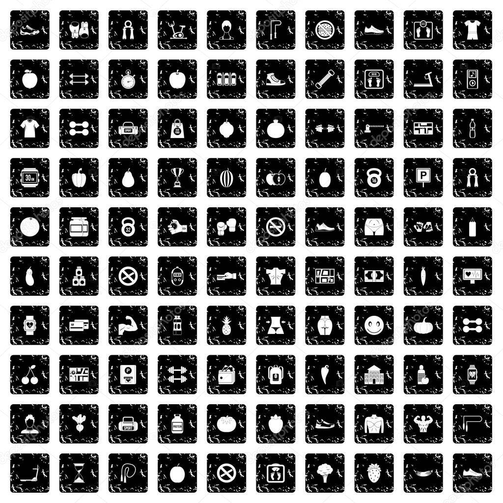 100 gym icons set, grunge style