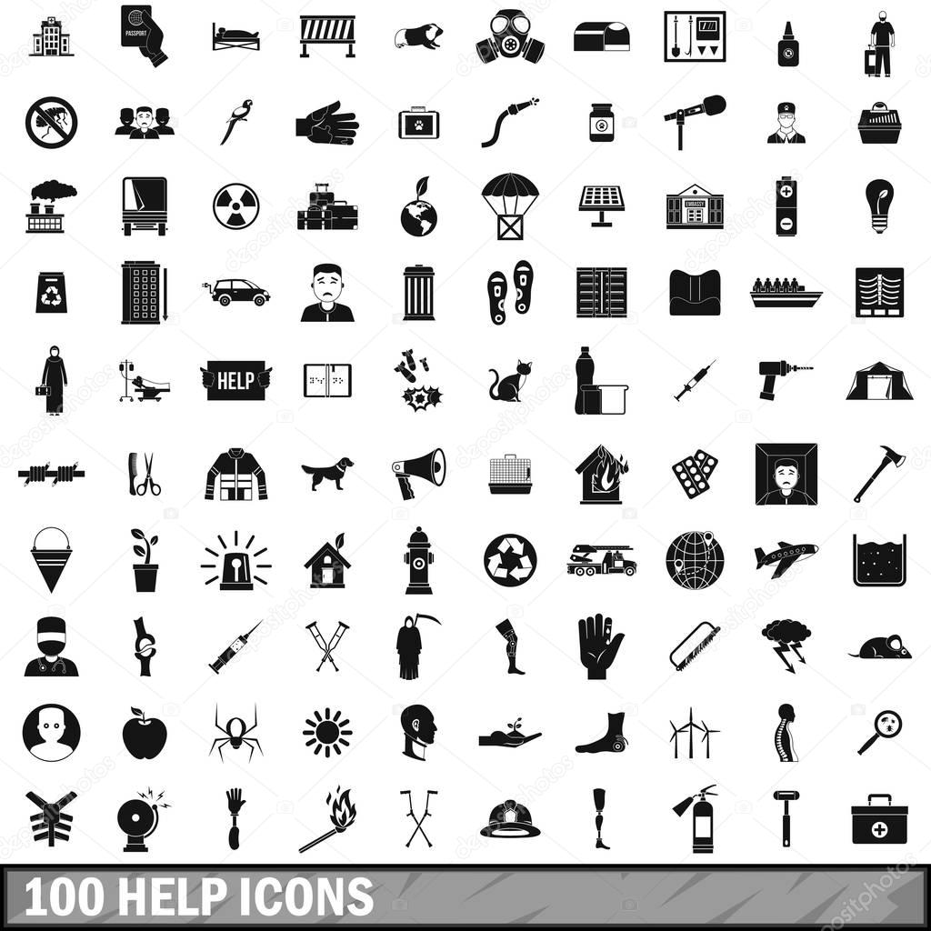 100 help icons set, simple style
