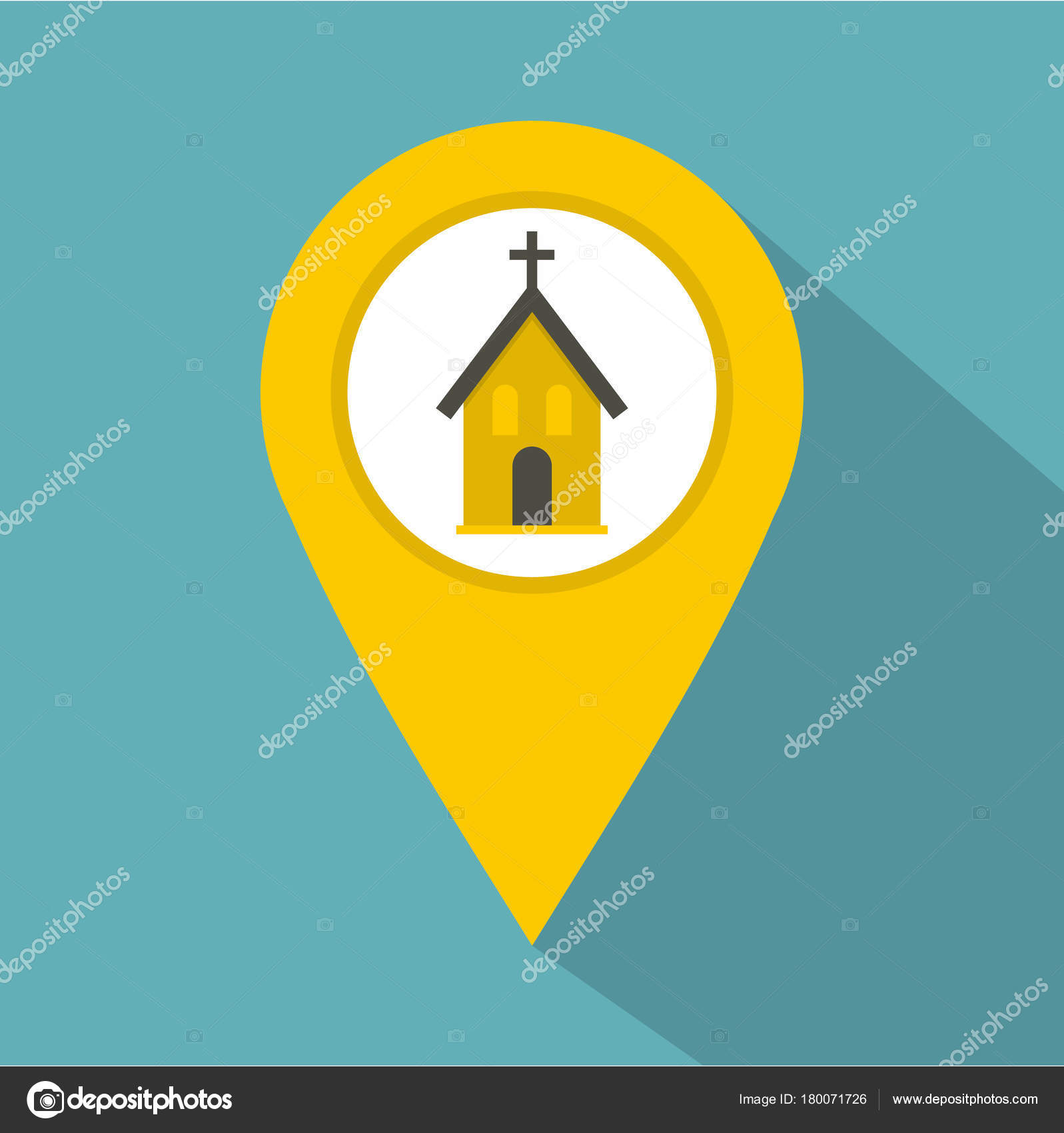 yellow map pointer with church sign icon stock vector ylivdesign