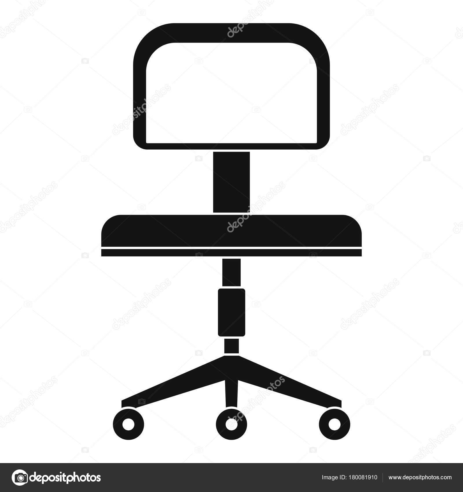 Ufficio una sedia con l\'icona di ruote, stile semplice — Vettoriali ...