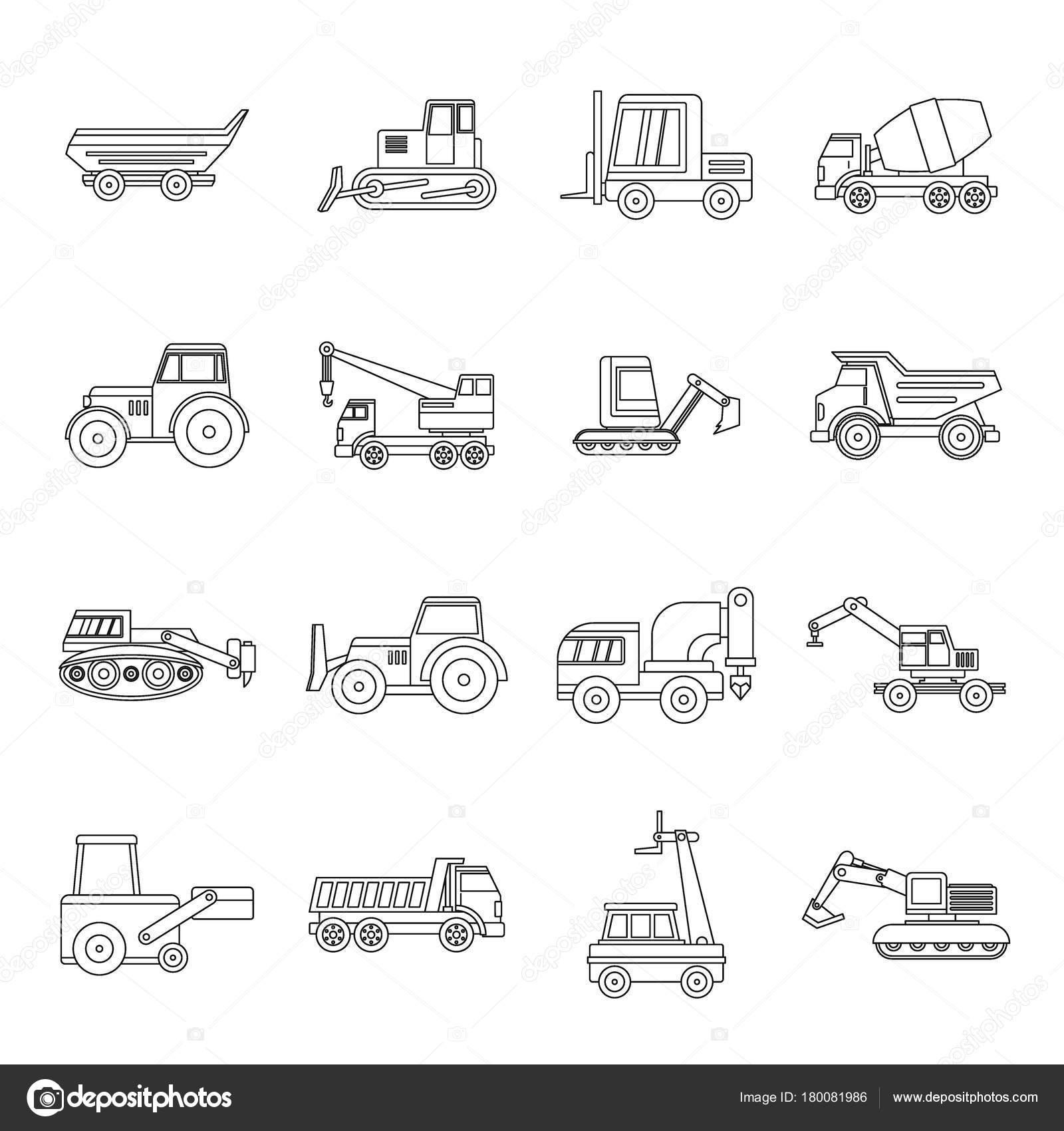 Fahrzeuge Symbole Baukasten, Umriss-Stil — Stockvektor © ylivdesign ...