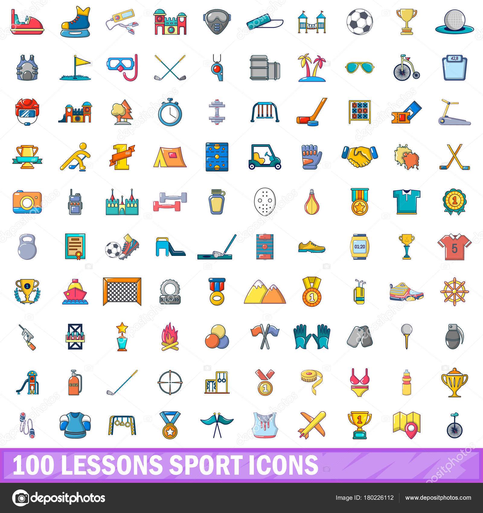 ed64588f7 Conjunto de ícones do esporte 100 lições. Ilustração dos desenhos animados  de 100 lições esporte vetor ícones isolado no fundo branco — Vetor de ...