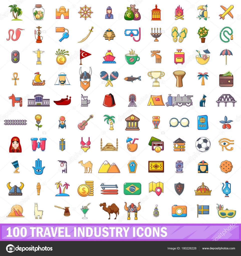100 Reise Industrie Ikonen Satz Cartoon Stil Stockvektor