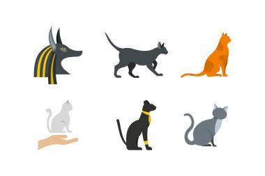 Cat icon set, flat style