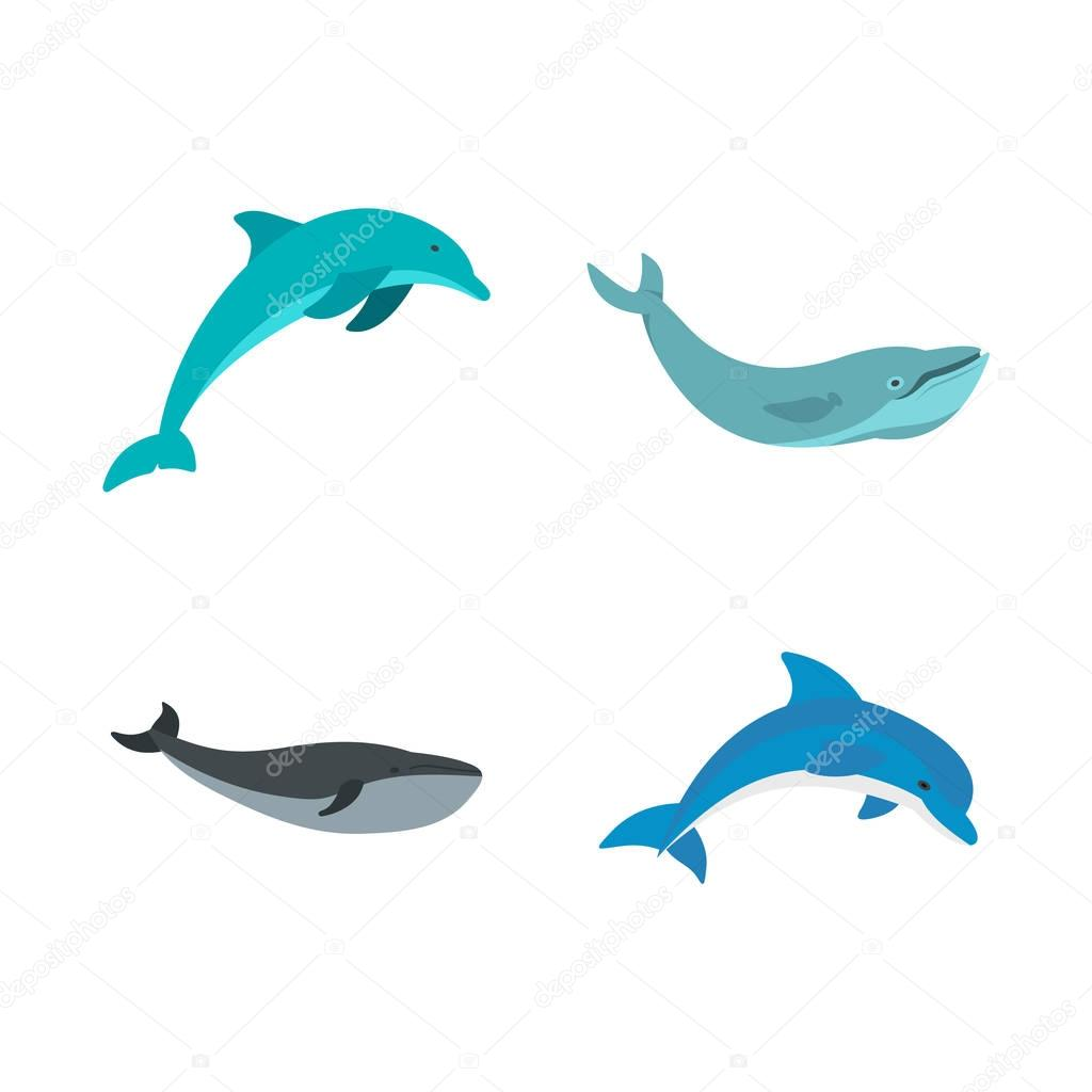Aqua mammal icon set, flat style