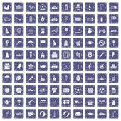 Fotografie 100 ball icons set grunge sapphire