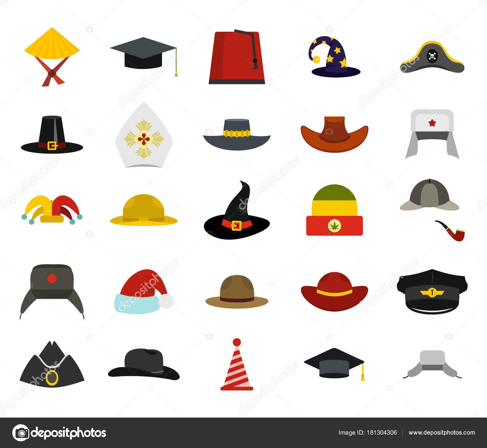 Conjunto de iconos de sombrero, estilo plano — Archivo Imágenes ...
