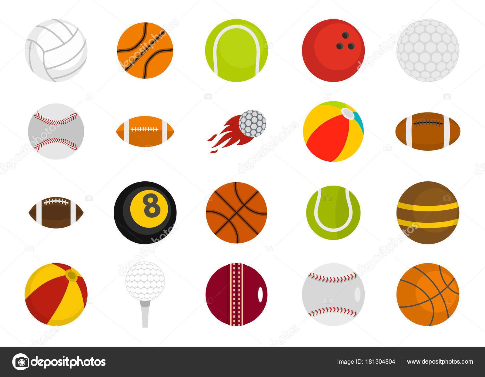 b6b8b5da372 Conjunto de iconos de deporte pelotas. Plano conjunto de deporte pelotas  vector iconos para diseño web aislado sobre fondo blanco — Vector de  ylivdesign