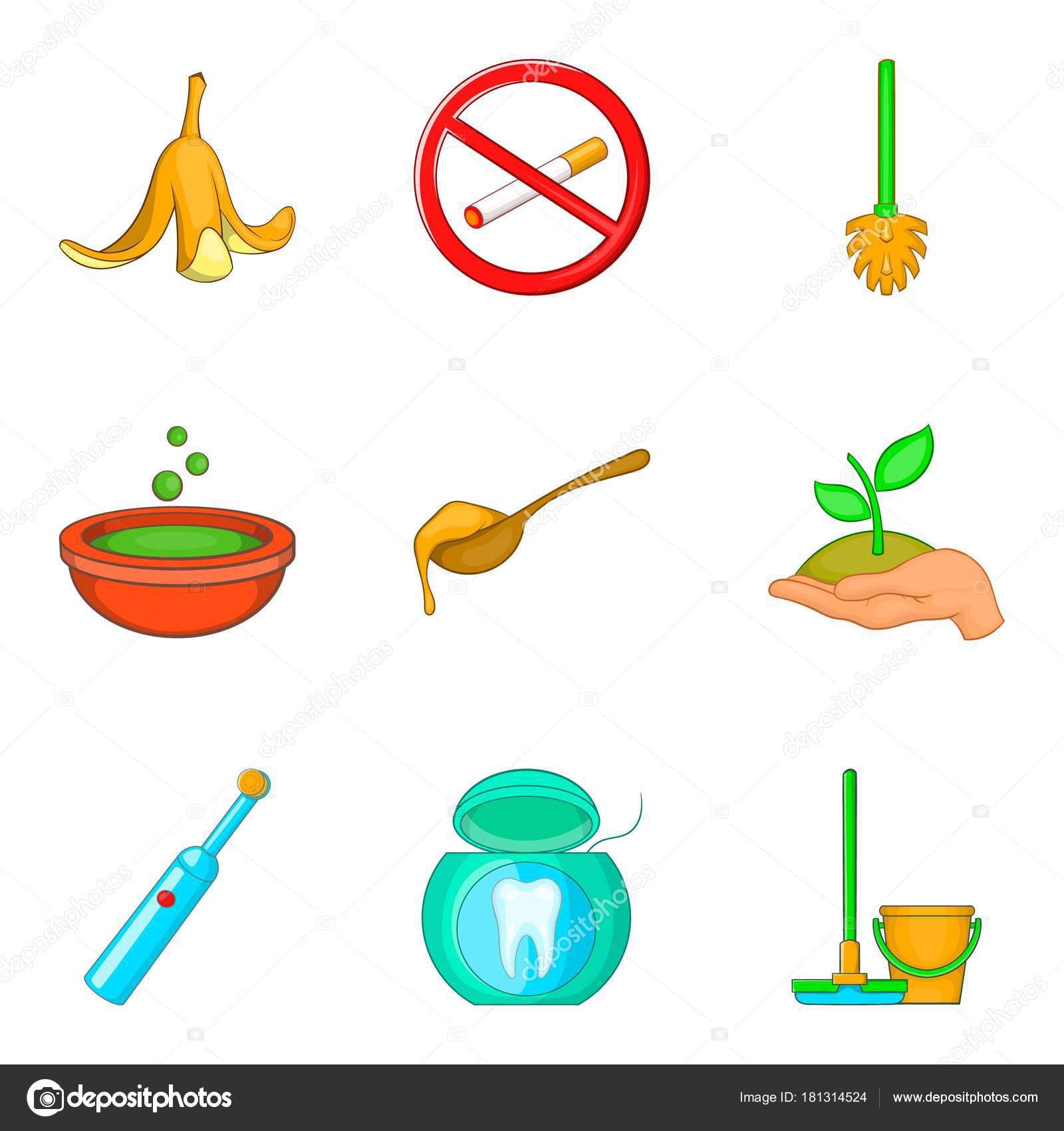 Conjunto De Icones De Reciclagem De Lixo Dos Desenhos Animados