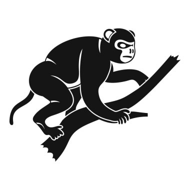 Monkey is climbing up on a tree icon, simple style