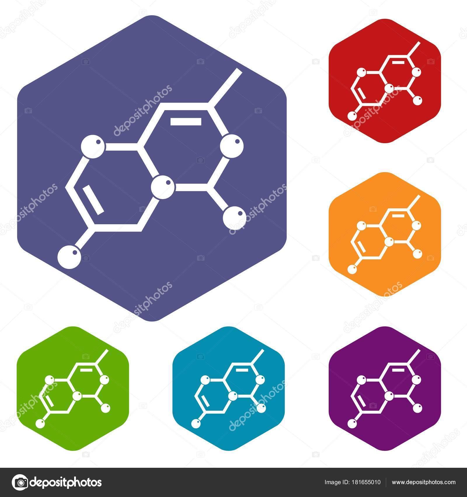 Crystal lattice icons set hexagon — Stock Vector