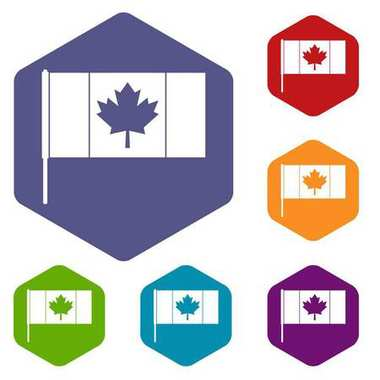 Canada flag with flagpole icons set hexagon