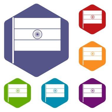 Indian flag icons set hexagon