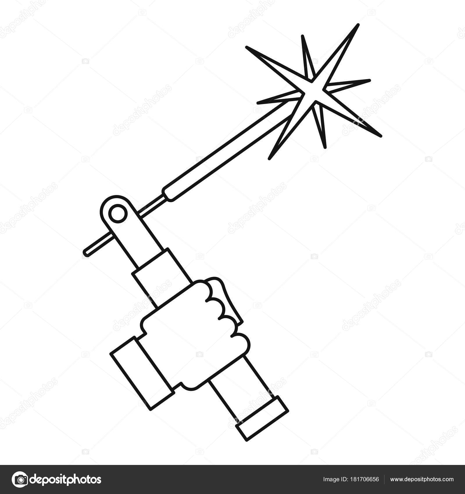 Mig welding torch in hand icon outline — Stock Vector