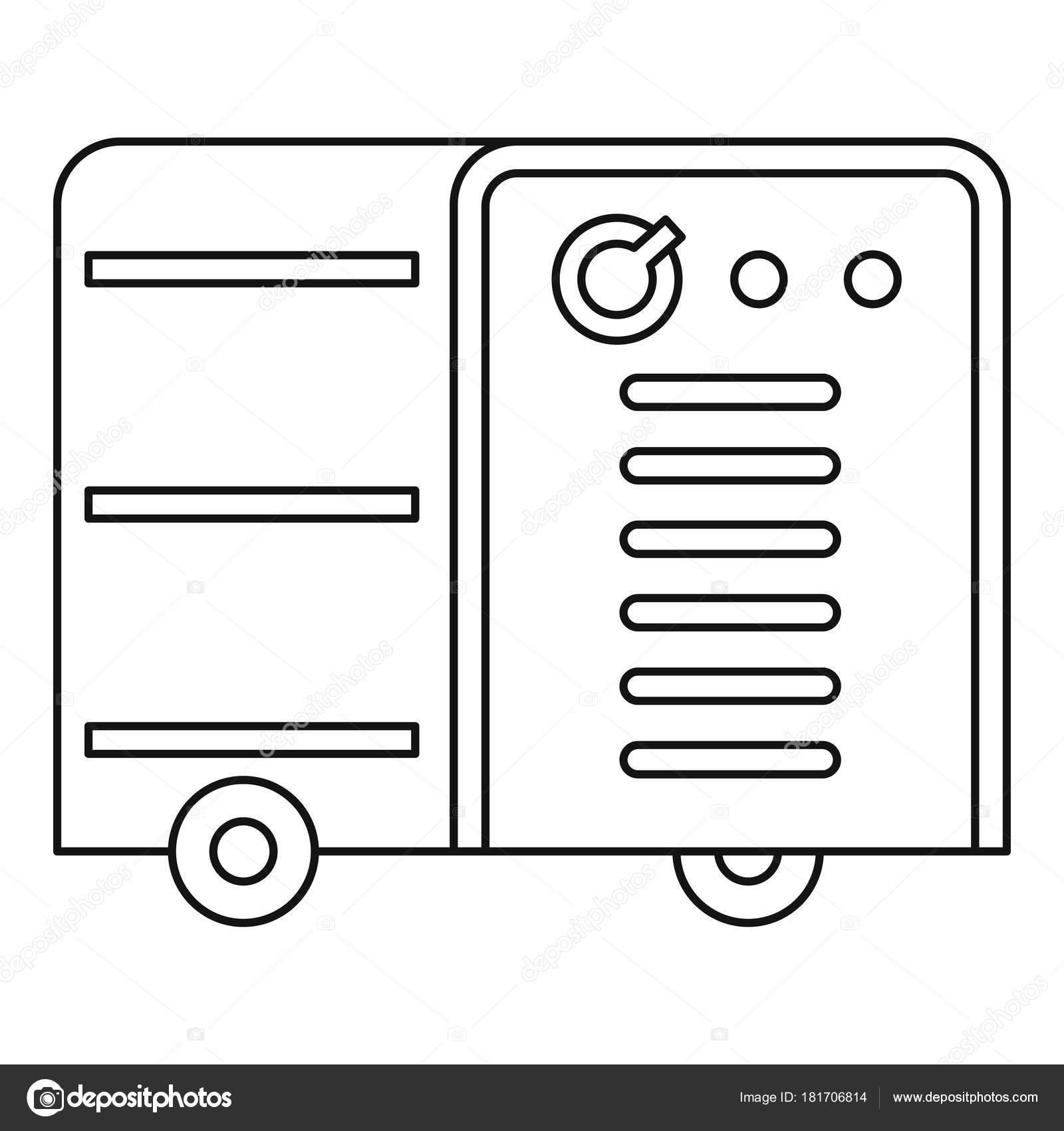 Esquema de icono de máquina soldadura Inverter — Vector de stock ...
