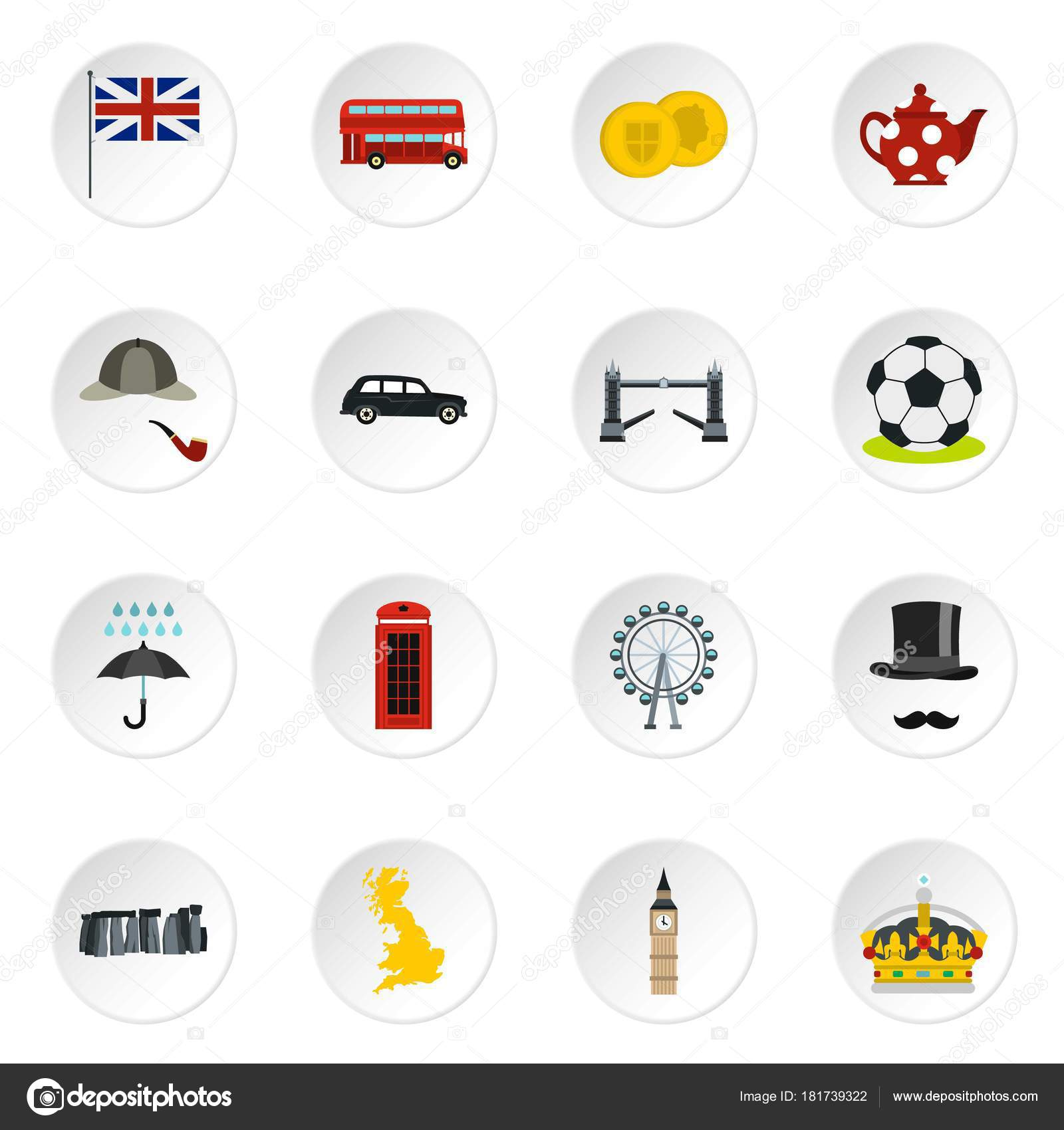 great britain icons set flat style stock vector ylivdesign