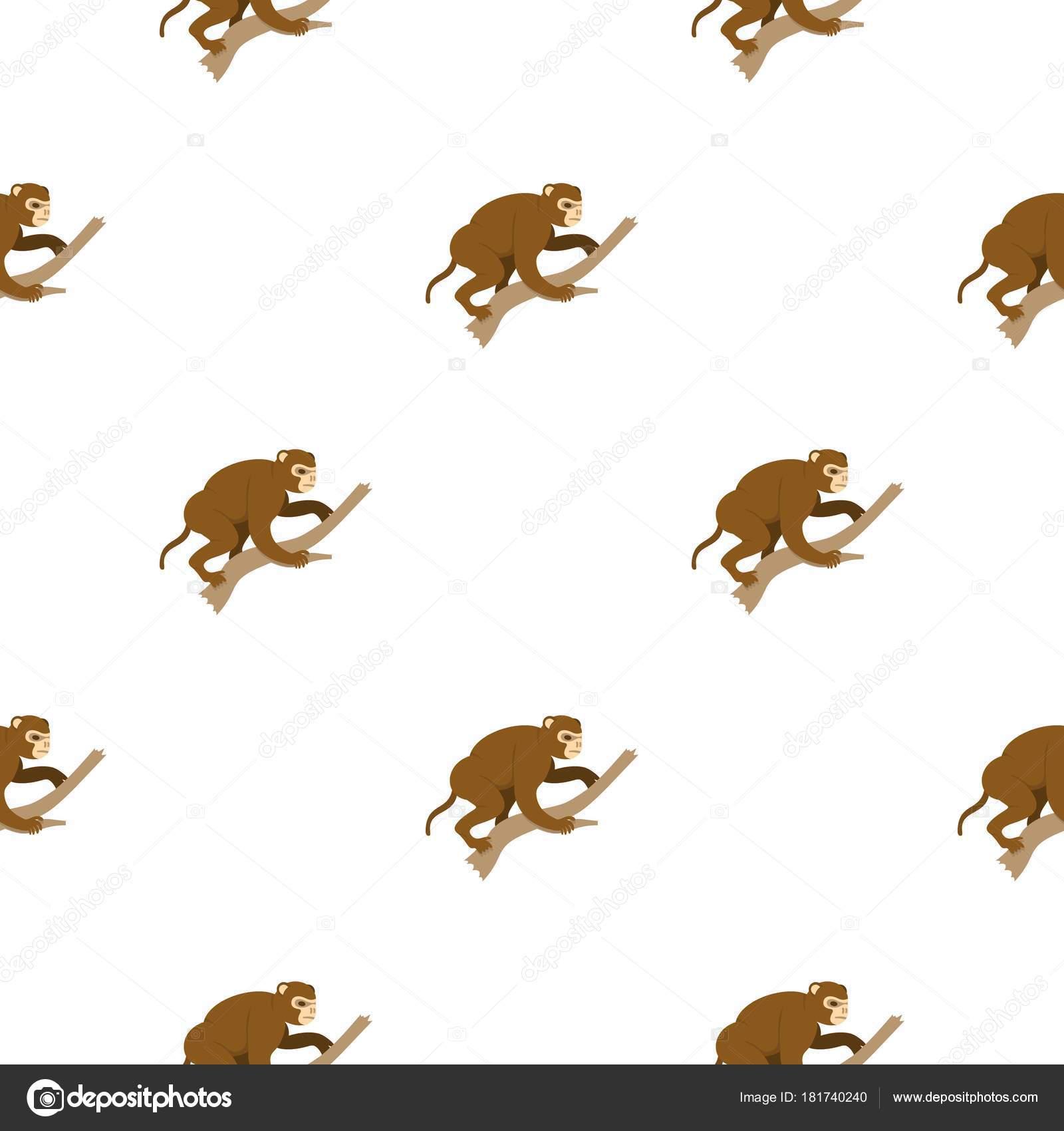 Mono sentado en un patrón de rama sin costura — Vector de stock ...